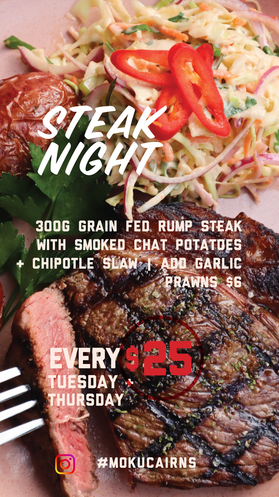 moku bar and grill weekly specials tuesday & thursday steak night novotel cairns